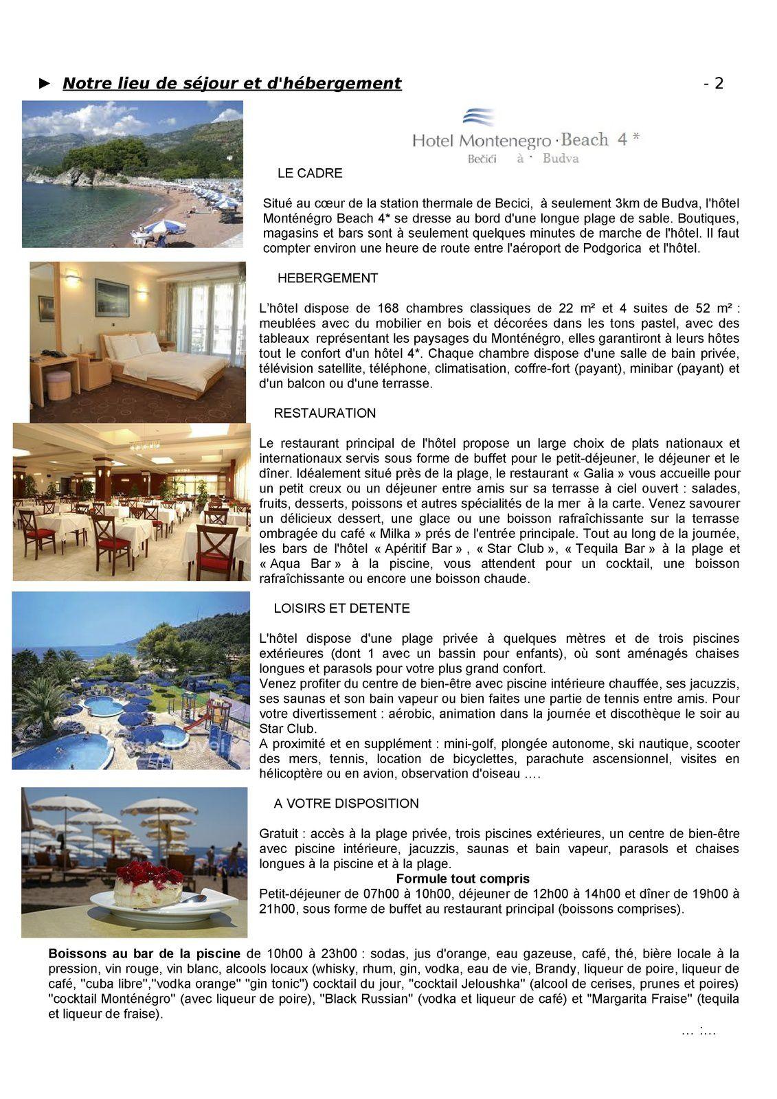 Voyage 2015 - Le Monténégro - Le programme -