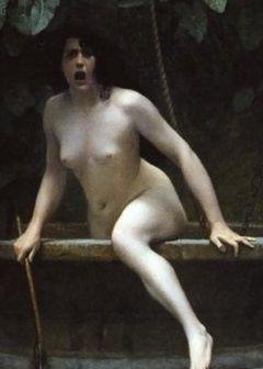 Détail d'un tableau de Jean-Léon Gérôme intitulé La Vérité sortant du puits, armée de son martinet, pour châtier l'humanité (1896).