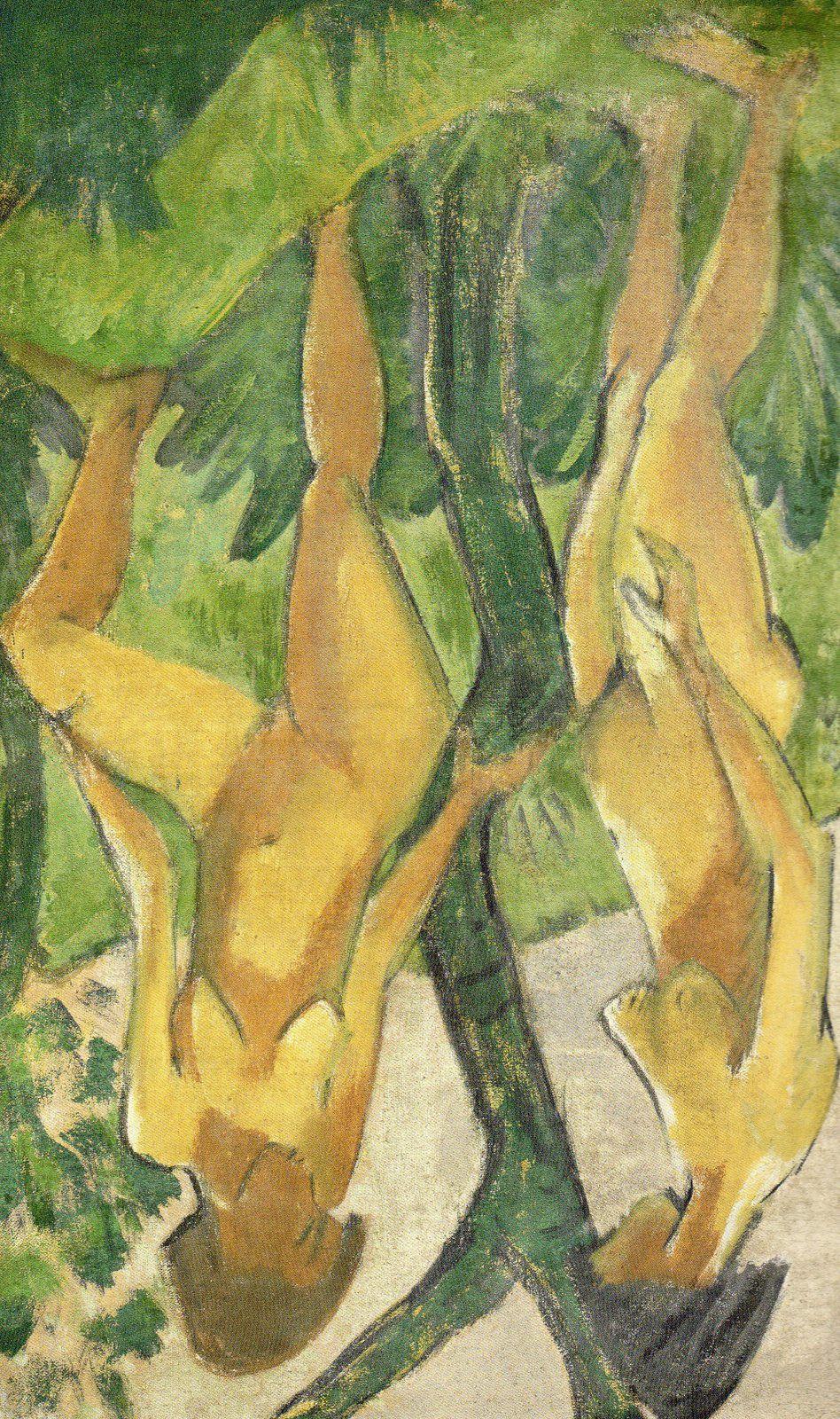 Otto Mueller (1874-1930), Zwei Mädchen, 1925/28, 175 x 111 cm. Tableau reproduit p. 75 de Moderne Zeiten (Die Nationalgalerie der Staatlichen Museum zu Berlin zu Gast in der Kunsthalle Würth in Scwäbisch Hall, Ed: Swiridoff.