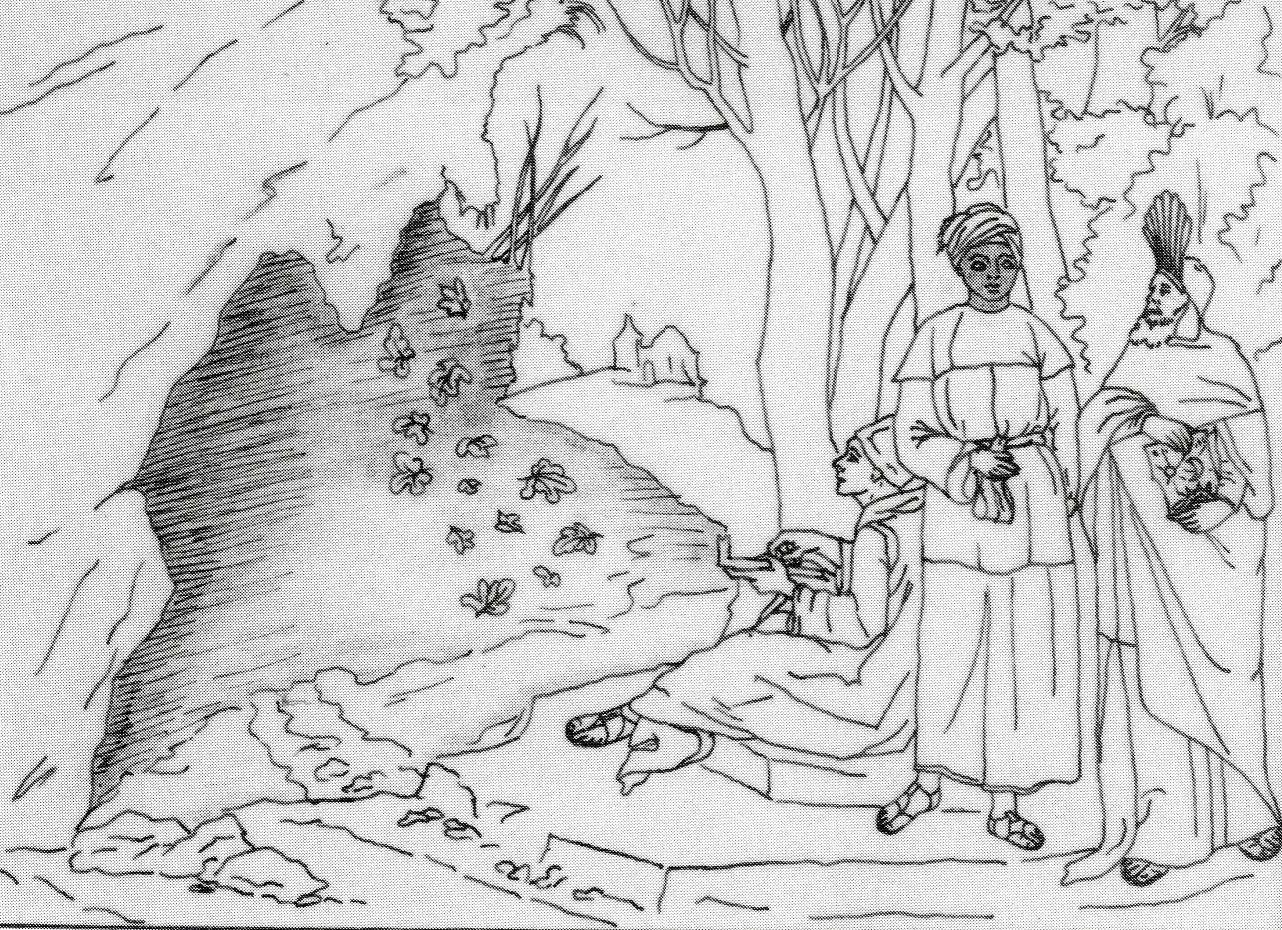 Reconstitution de la première version des Trois philosophes par un dessin de Fulvia Donati.