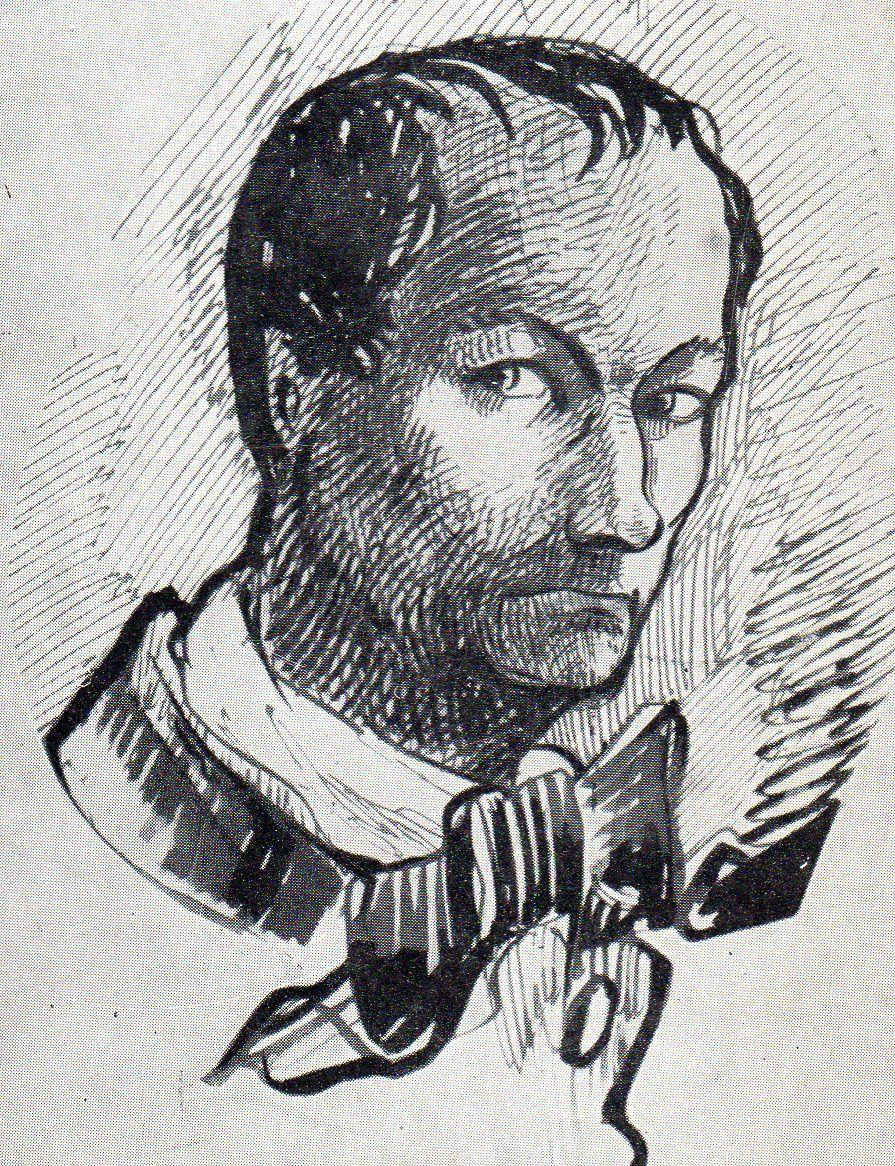 Portrait de Baudelaire par lui-même. Dessin à la plume et au crayon rouge. Collection F. Vanderem&#x3B;