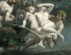 """Détail d'un tableau de Paul Chenavard (1807-1895) intitulé Divina Tragedia, 1848, huile sur toile,  400 x 550 cm, Paris, Musée d'Orsay. Il s'agit d'une illustration de l'histoire des religions. Cette peinture est accompagnée d'une légende qui débute par : """"Vers la fin des religions antiques et à l'avènement dans le ciel de la Trinité chrétienne, la Mort, aidée de l'ange de la Justice et de l'Esprit, frappe les dieux qui doivent périr."""""""
