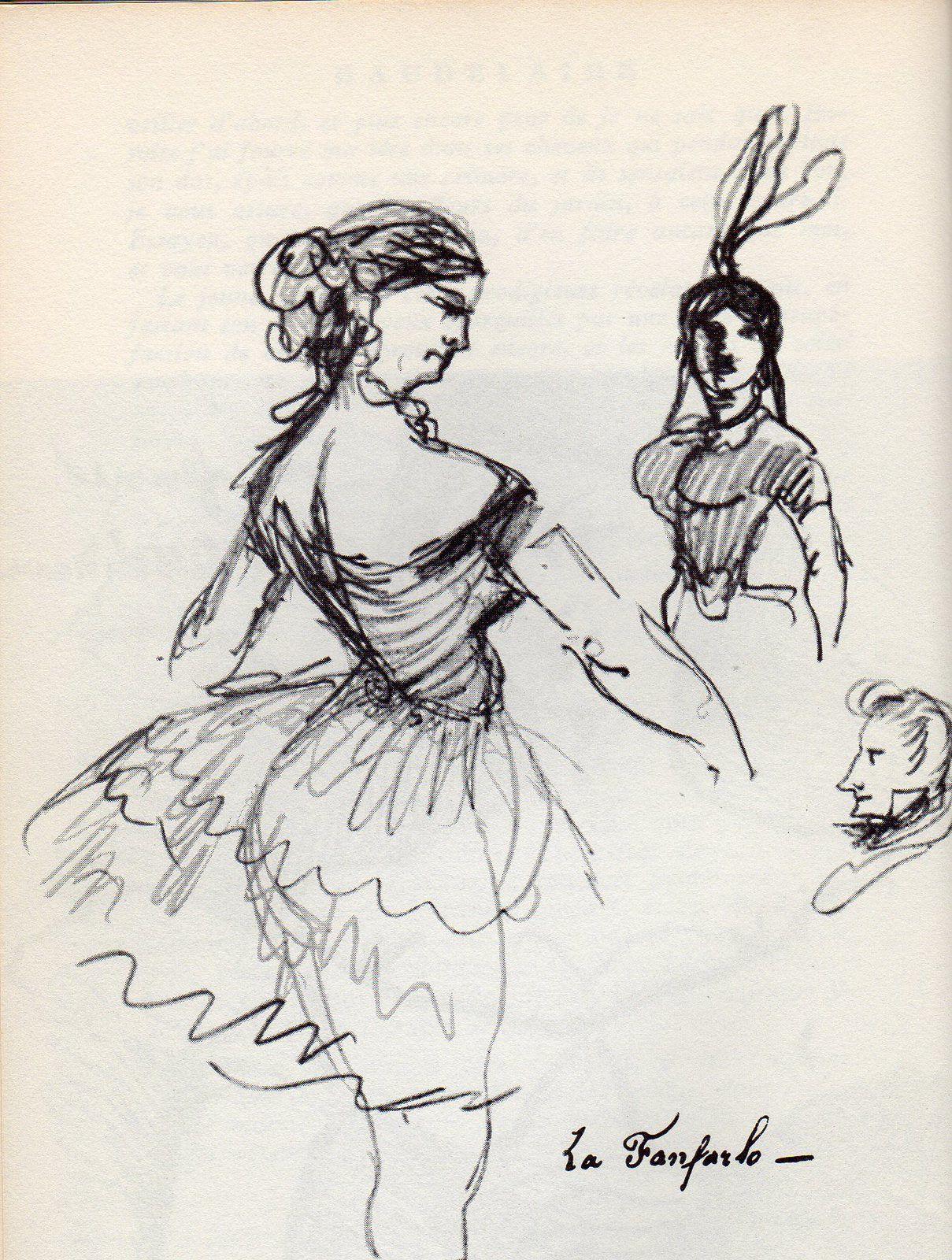 Dessin de Baudelaire intitulé La Fanfarlo. À droite Baudelaire, son amant. Ce dessin est reproduit page 38 du Baudelaire par lui-même, Seuil 1952, présenté par Pascal Pia.