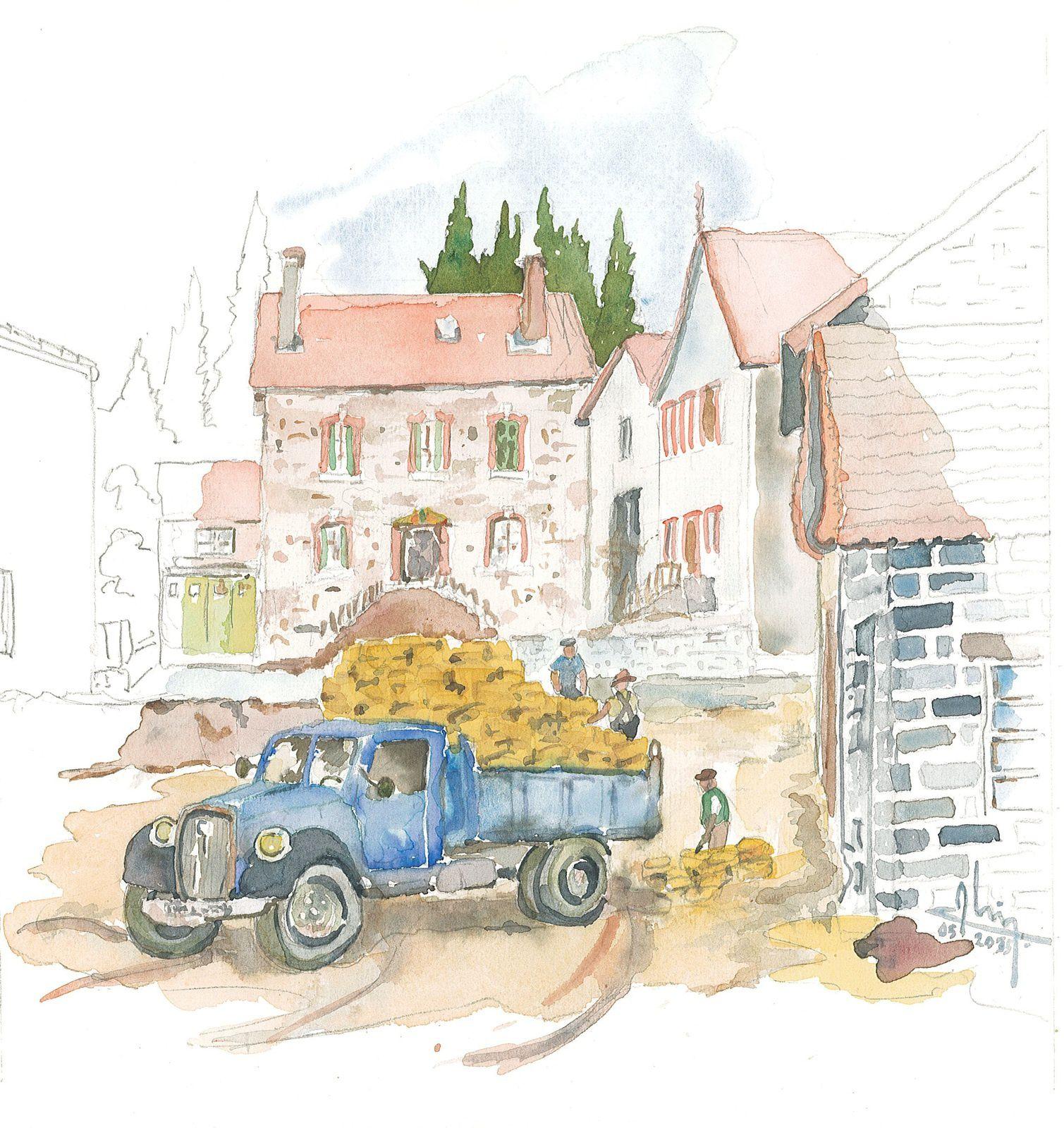 Aquarelle du cousin Alain Colomb (2015). Déchargement d'une camionnette devant la petite usine de paillons. Au fond, à droite, la maison familiale, à gauche, celle de notre arrière grand-père Jean-Pierre Perrin.