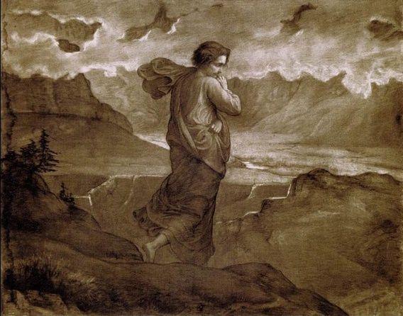 Détail d'une œuvre de Louis Janmot intitulée Le doute (1861), fusain sur papier, 114 x 147. Cette œuvre a été reproduite p.71 du livre de Louis Janmot intitulé Le Poème de l'âme, E. Hardouin-Fugier, La Taillanderie, 2007.