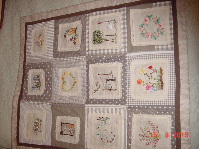 broderies ruban champêtres mises sur tissus patchwork