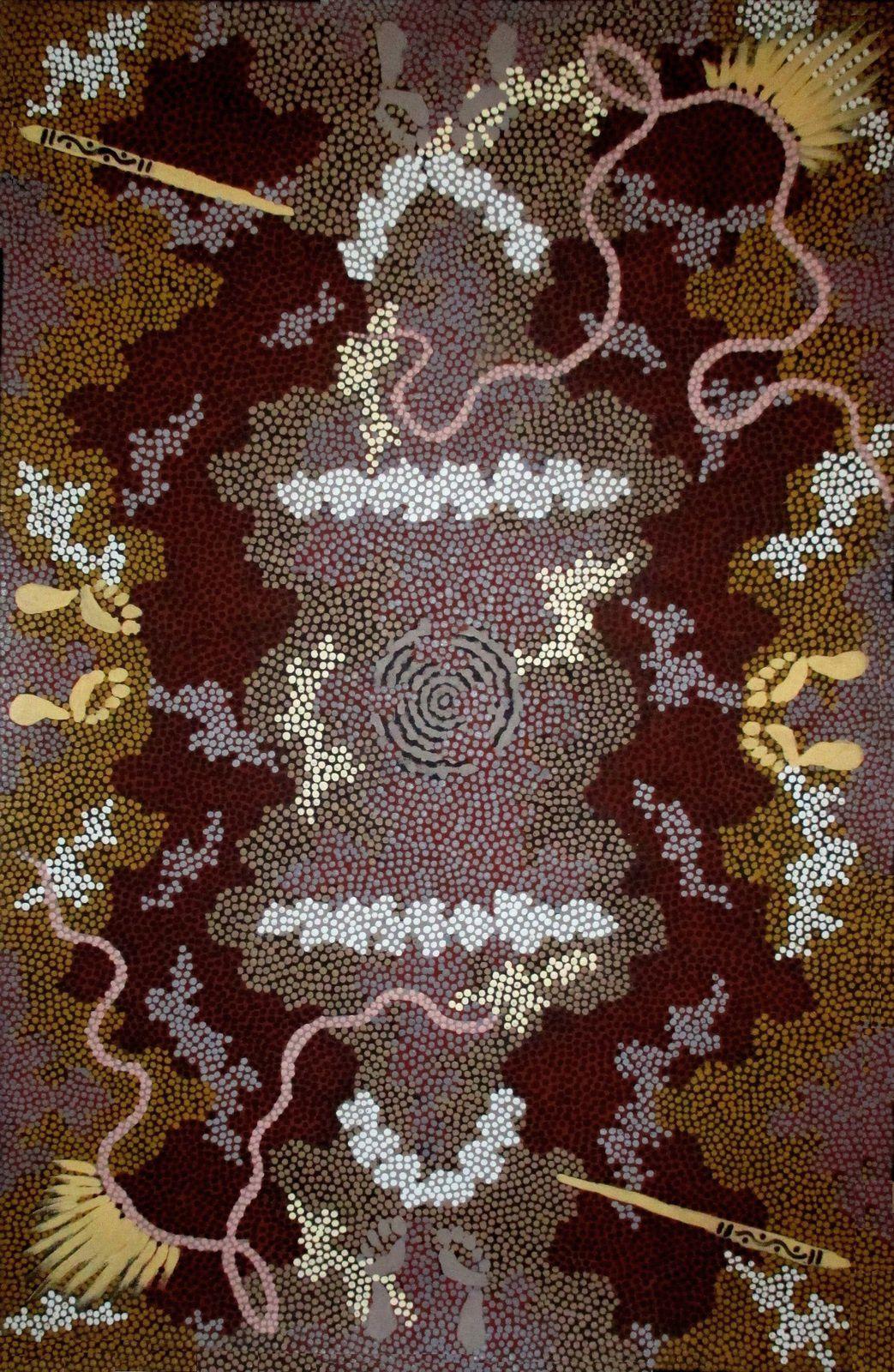 """Male initiation""   CLIFFORD POSSUM TJAPALJARRI, acrylique sur lin, 120x90 cms"