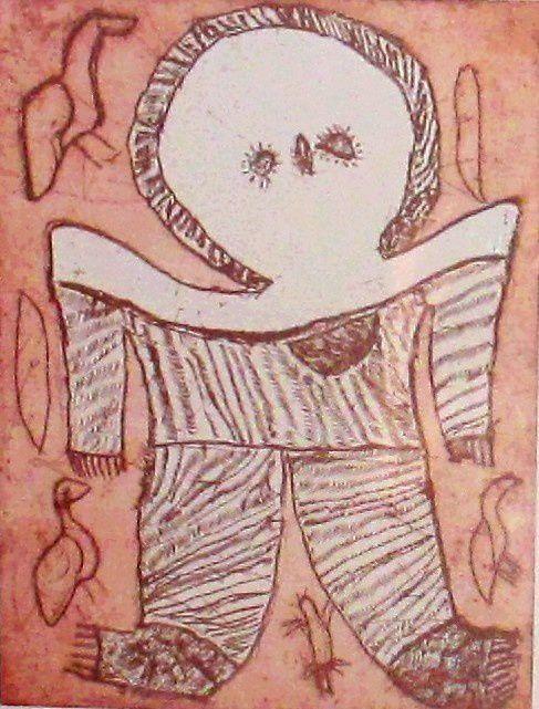 Wandjinas, gravure de Lly Karadada