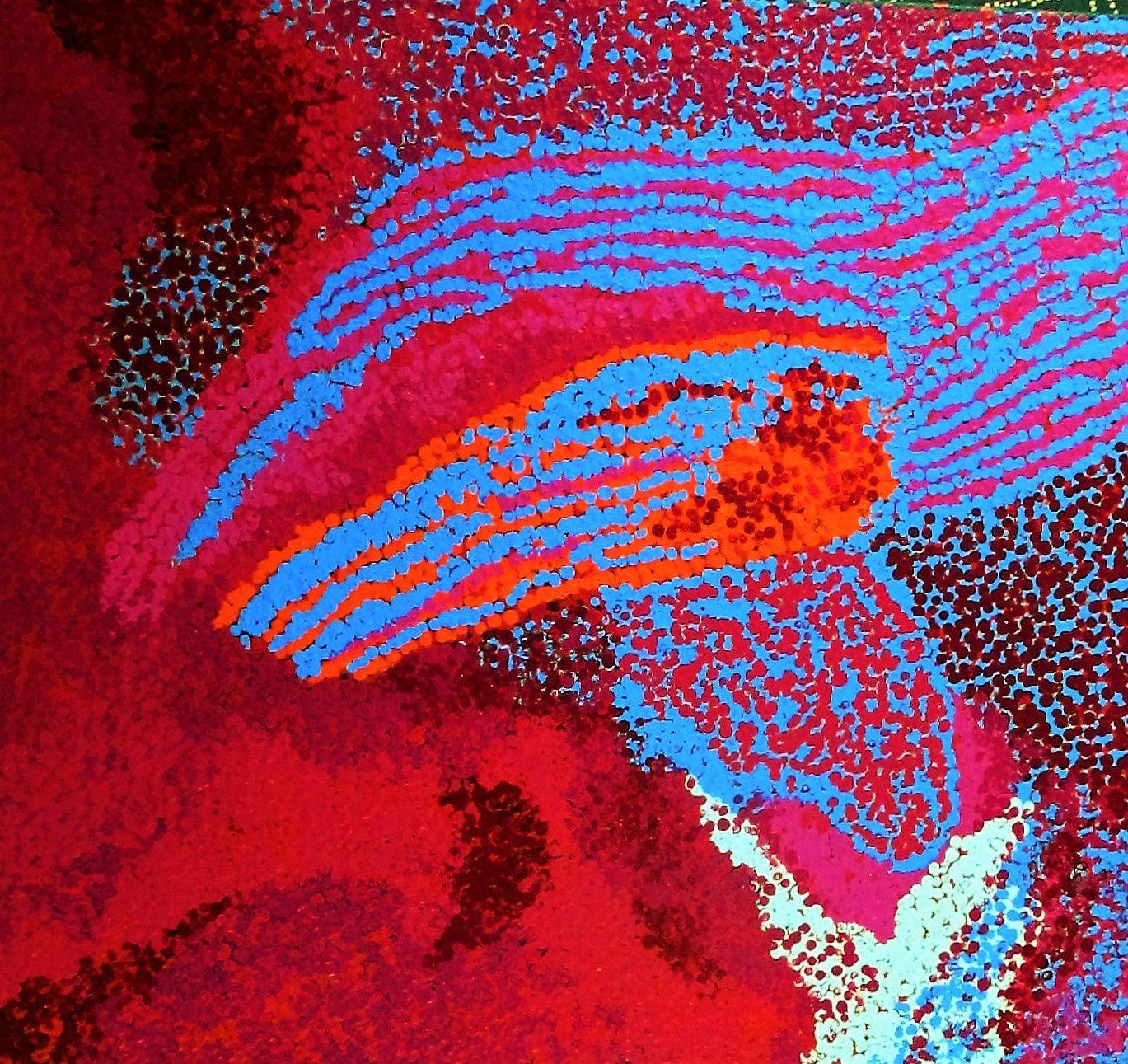 Yannima Pikarli Tommy Watson peint son désert. Ici une oeuvre de 112x102 cm