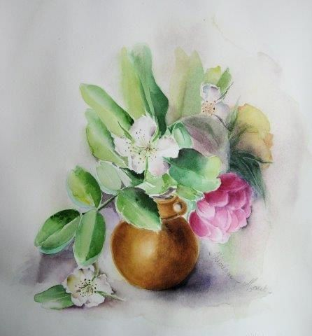 Aquarelle Papier Arches 300g satiné - Bouquet  26 x 30