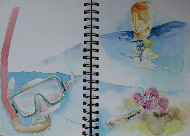 Souvenirs aquarellés d'une partie de mon carnet de voyage - Porto Colom - Majorca - Bel été à tous