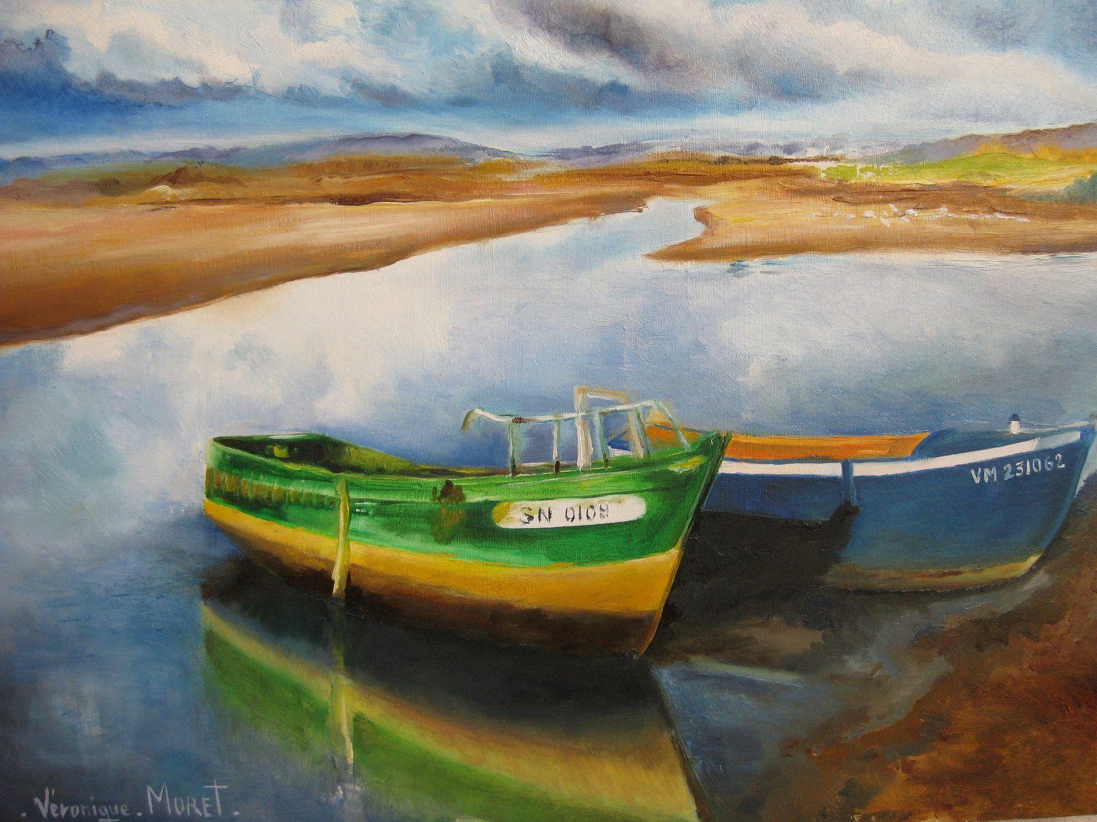 Huile - les bateaux - V Moret