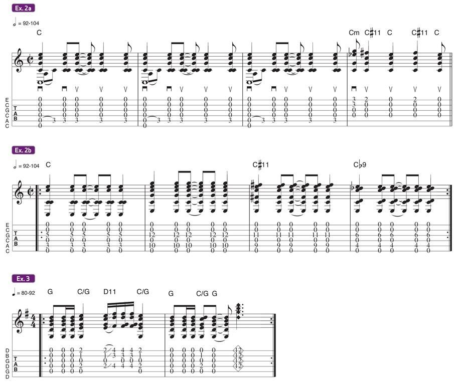 1ère tab: intro i'm gonna leave you 2ème tab les voicings ensuite le riff de that's the way à la fin des exemples de voicings de Jimmy Page et 3 mes tangerine