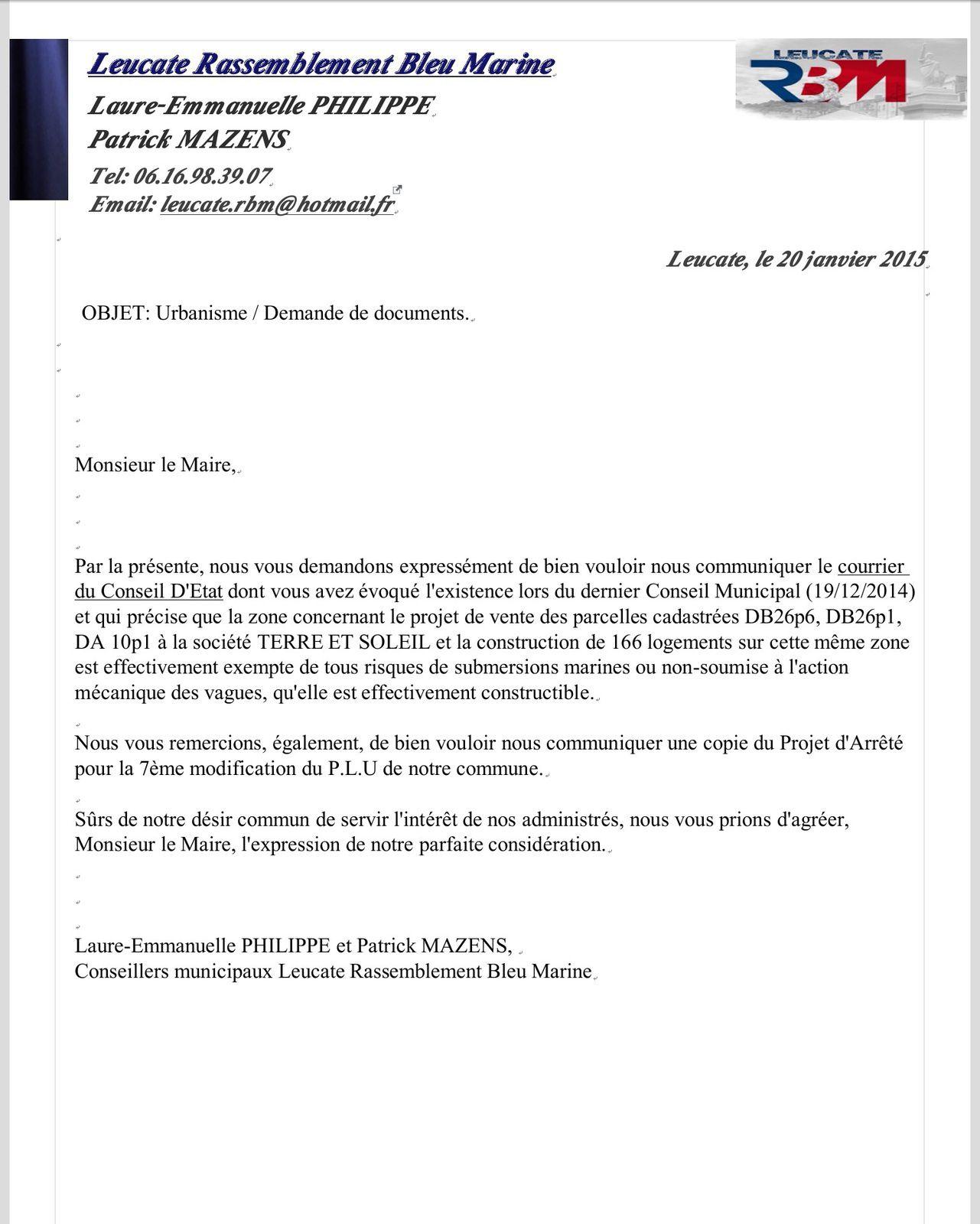 Dernier courrier de demande de documents à Monsieur le Maire...