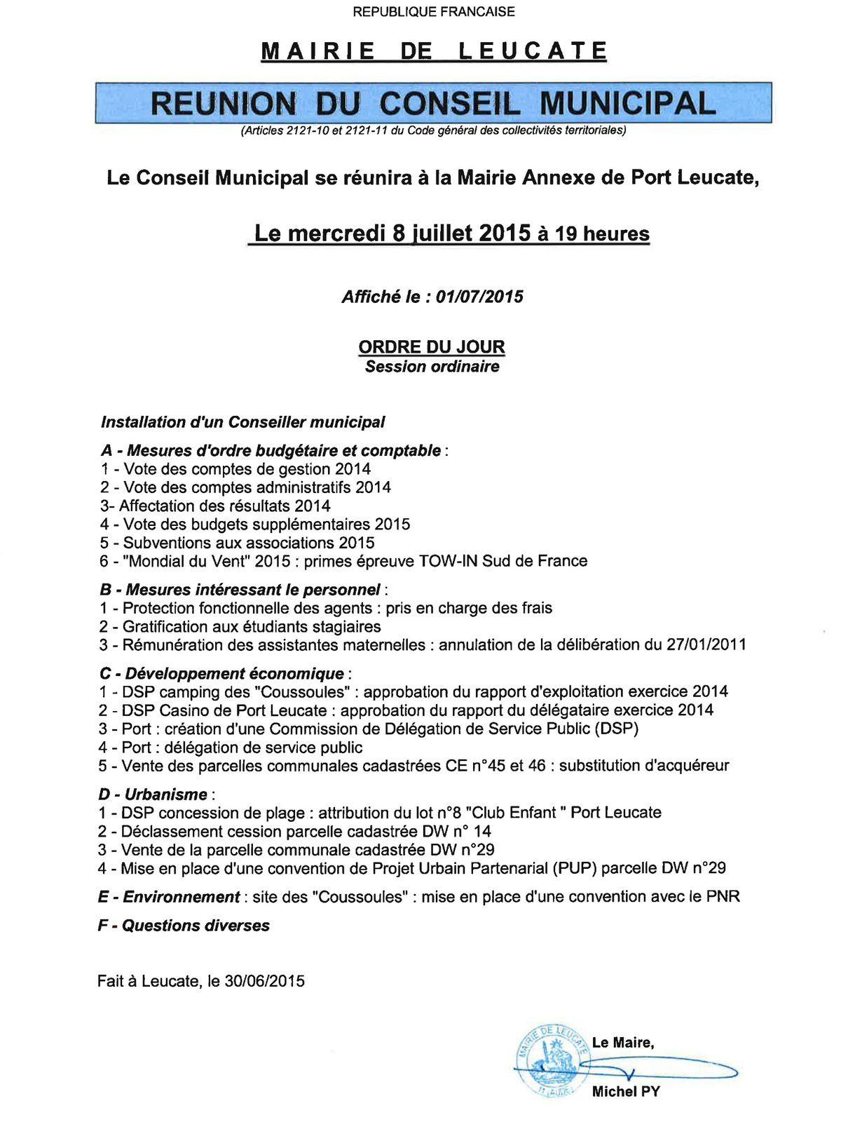 Prochain conseil municipal: le 8 juillet 2015 à 19h