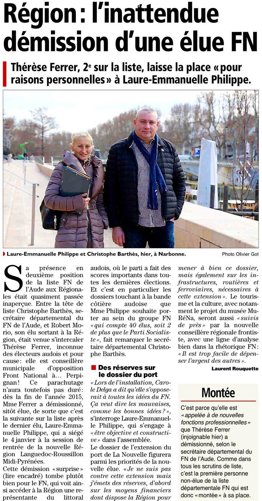 Article L'Indépendant du 12/01/2016