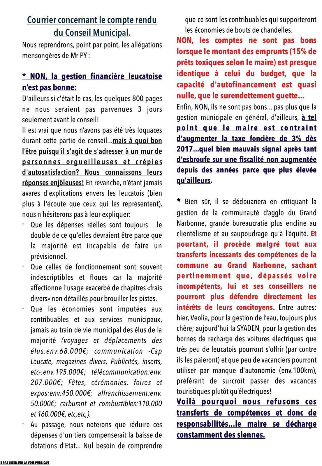 Notre droit de réponse: Bulletin d'information Leucate RBM en cours de distribution.