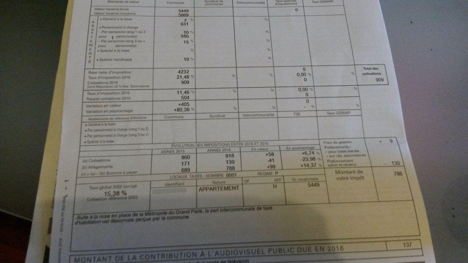 Une voisine m'a communiqué ses avis d'impositions : pour cette maman seule avec un enfant l'augmentation est de 14,37 % !