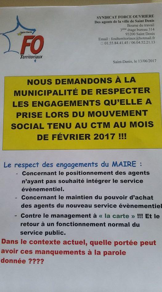 Grève d'agents communaux pour faire respecter les engagements pris