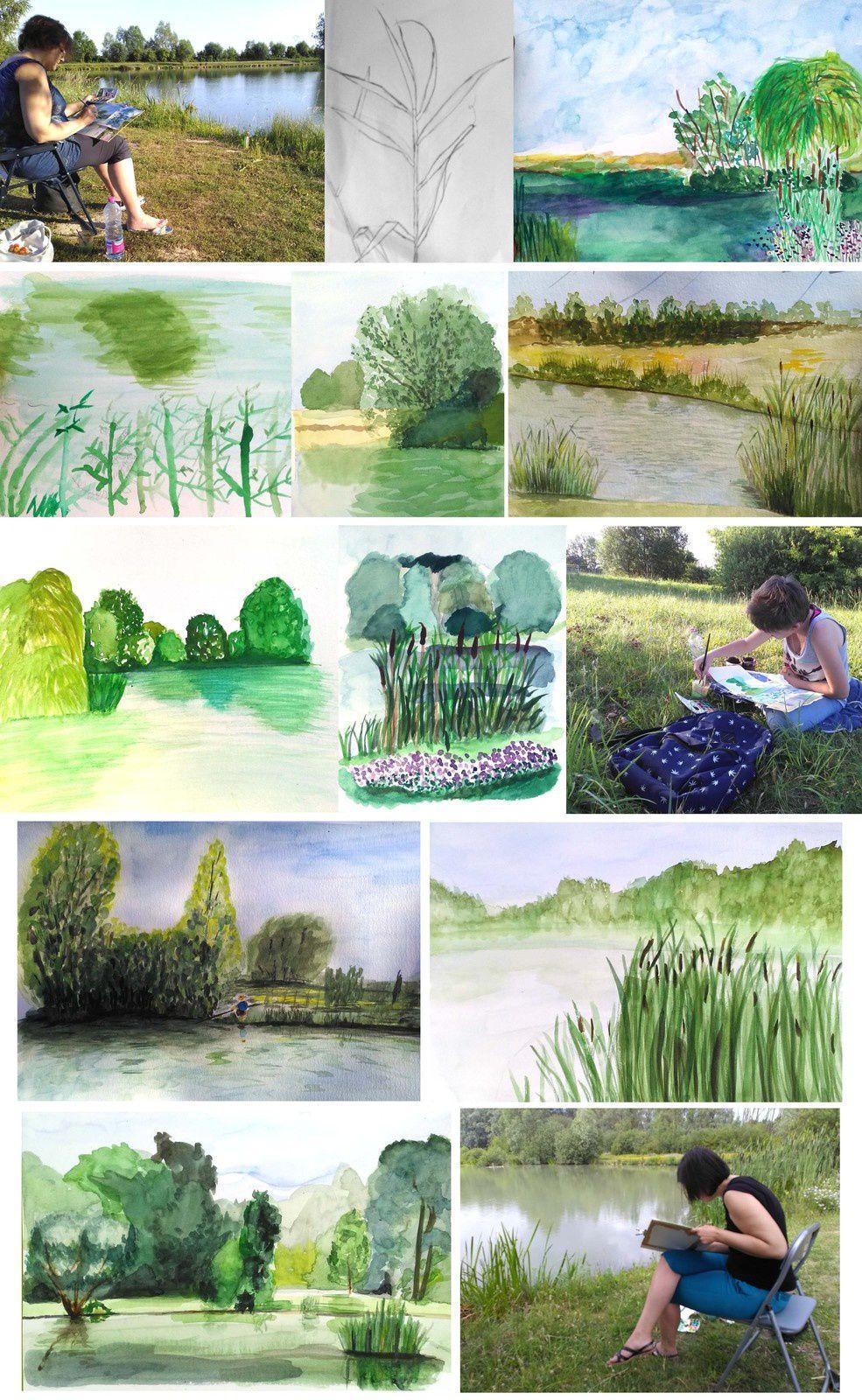 Aquarelle aux étangs de la Louvière