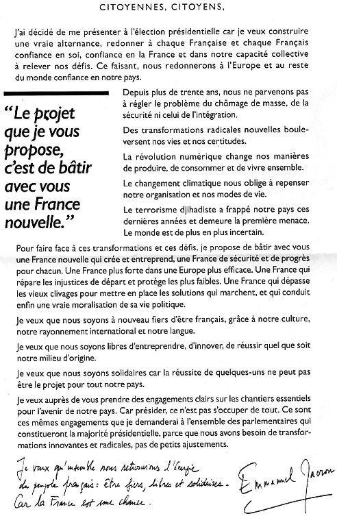Propositions de Emmanuel Macron