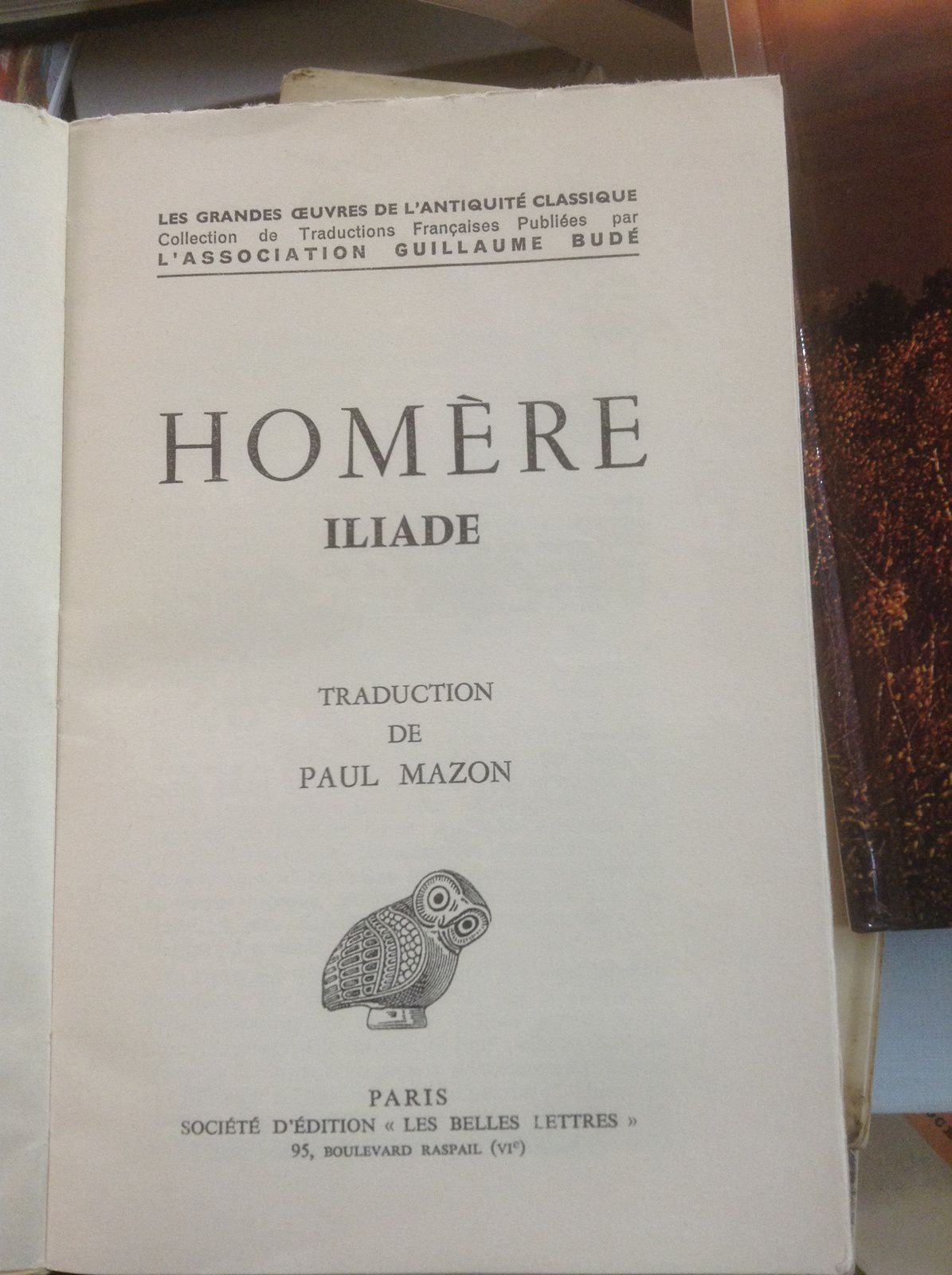 Homere iliade tradution de paul mazon edtion les belle for Dessin miroir bris