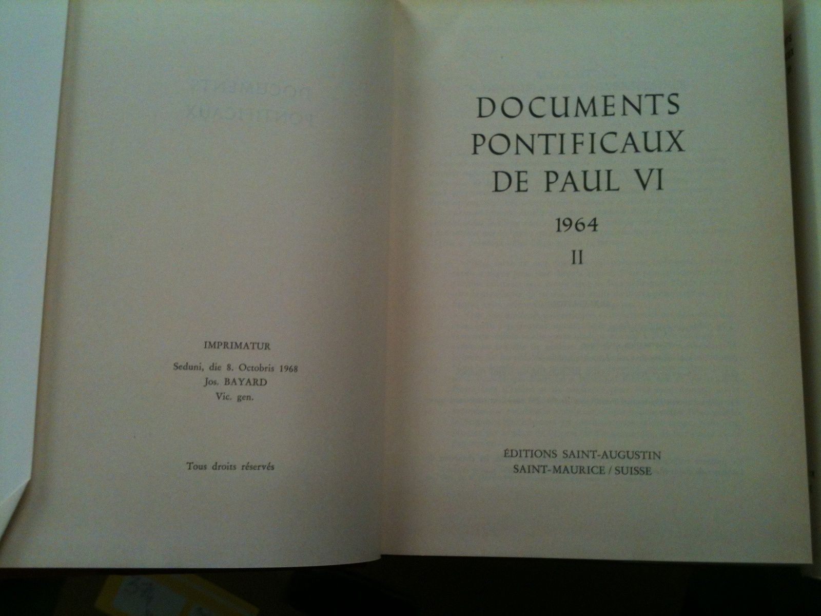 DOCUMENT PONTIFICAUX DE PAUL VI EDITION SAINT -AUGUSTIN 17 LOLUMES TRES BON ETAT PRIX  180€ PORT POSSIBLE 10€