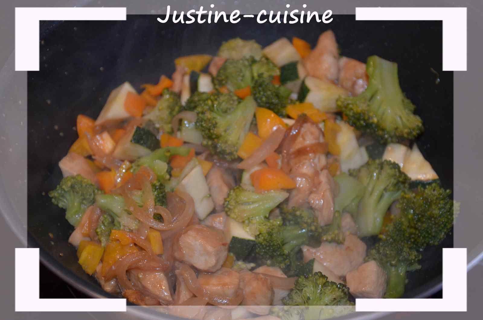 Poèlée de légumes au poulet Yakitori et riz