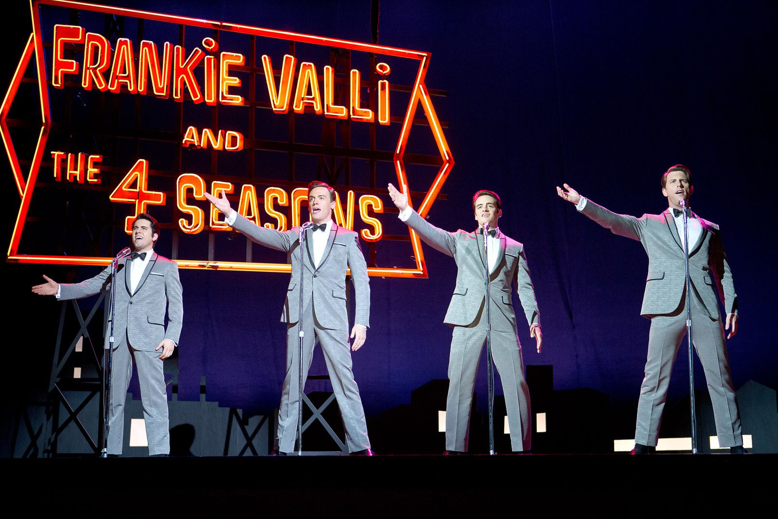 "© 2014 WARNER BROS. ENTERTAINMENT INC. AND RATPAC ENTERTAINMENT  Photo Credit: Keith Bernstein  Caption: JOHN LLOYD YOUNG as Frankie Valli, ERICH BERGEN as Bob Gaudio, VINCENT PIAZZA as Tommy DeVito and MICHAEL LOMENDA as Nick Massi in Warner Bros. Pictures' musical ""JERSEY BOYS, "" a Warner Bros. Pictures release."