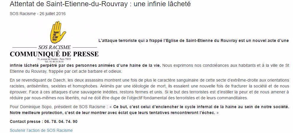 Saint-Etienne-Du-Rouvray : SOS Racisme trouve le moyen d'accuser l'extrême-droite