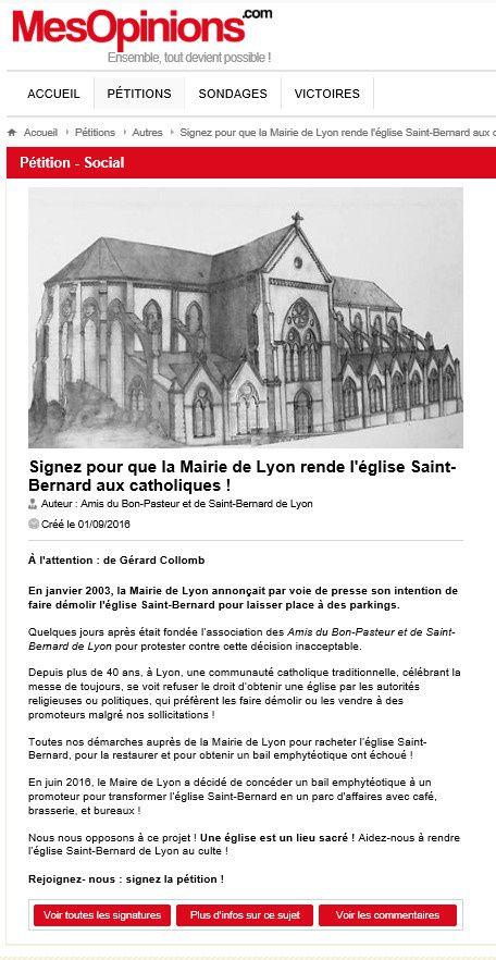 Signez pour que la Mairie de Lyon rende l'église Saint-Bernard aux catholiques !