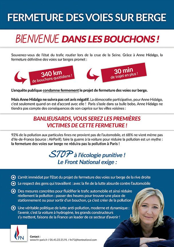 Le FN parisien s'engage contre la fermeture des voies sur berge