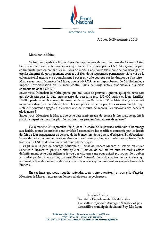 A l'occasion de la journée nationale d'hommage aux harkis, le FN69 demande aux maires du Rhône de débaptiser leurs rues «19 mars 1962»