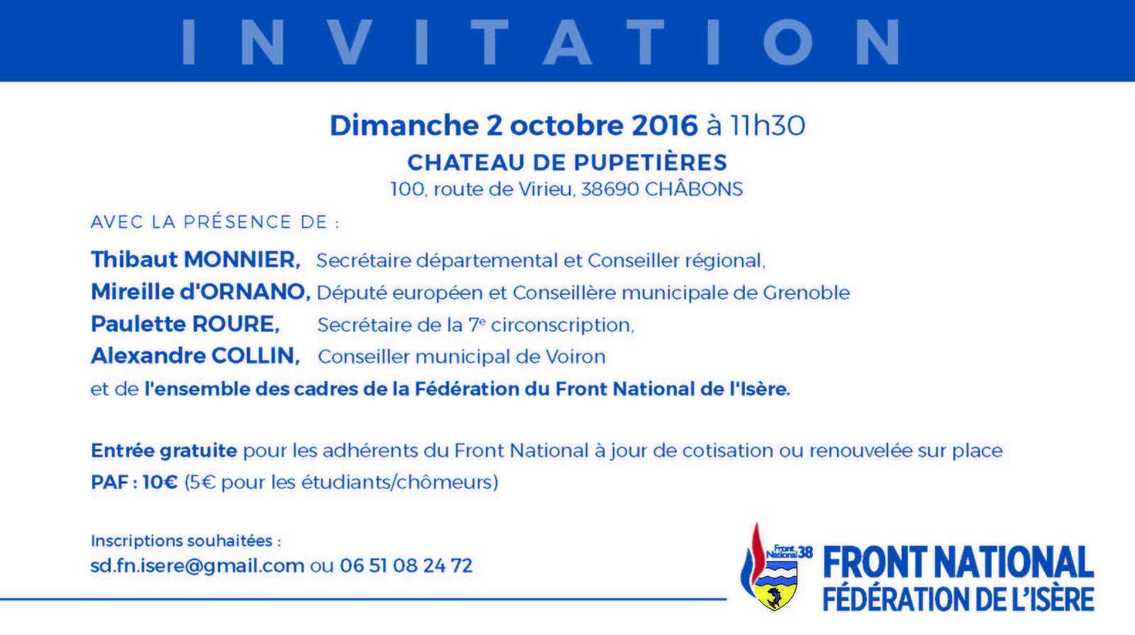 Meeting de David RACHLINE à CHABONS (Isère) ce dimanche 2 octobre 2016