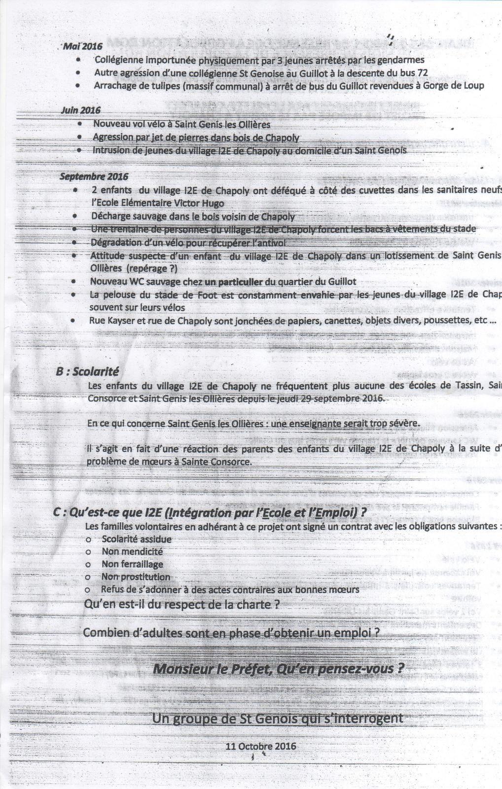 Lettre distribuée dans les boîtes aux lettres des habitants de Saint-Genis-les-Ollières et interpellant M. Delpuech, préfet du Rhône.