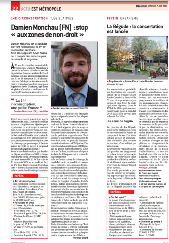 Damien Monchau, candidat FN dans la 14 ème circonscription du Rhône