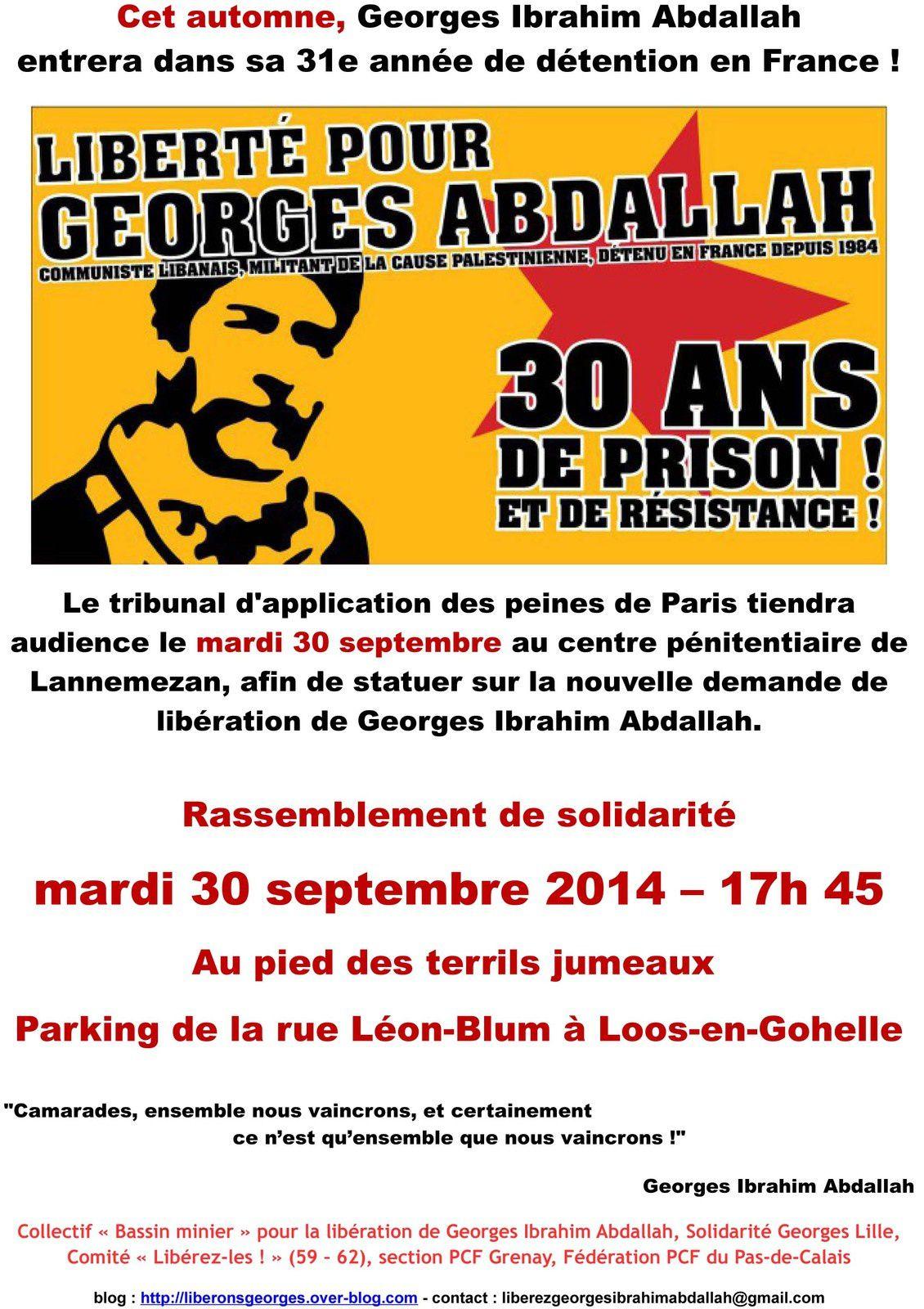 Liberté pour Georges Abdallah : rassemblement de solidarité mardi 30 septembre