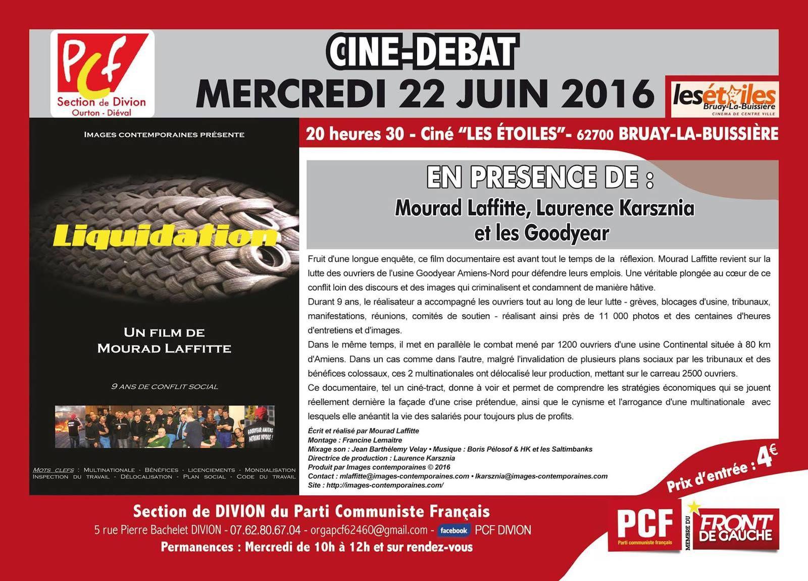 PCF Divion : Ciné-Débat &quot&#x3B;Liquidation&quot&#x3B;