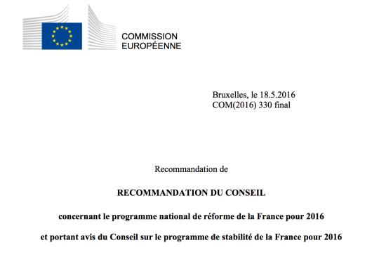 Les recommandations 2016 à la France de la commission européenne : Toujours plus contre le monde du travail