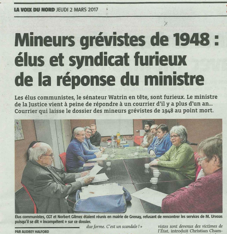 Mineurs grévistes de 1948 : élus communistes et syndicats CGT des mines furieux de la réponse du ministre