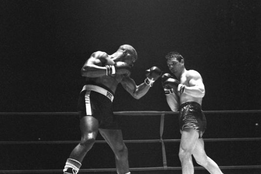 """Hurricane"" Carter lors d'un match de boxe, en 1965. 