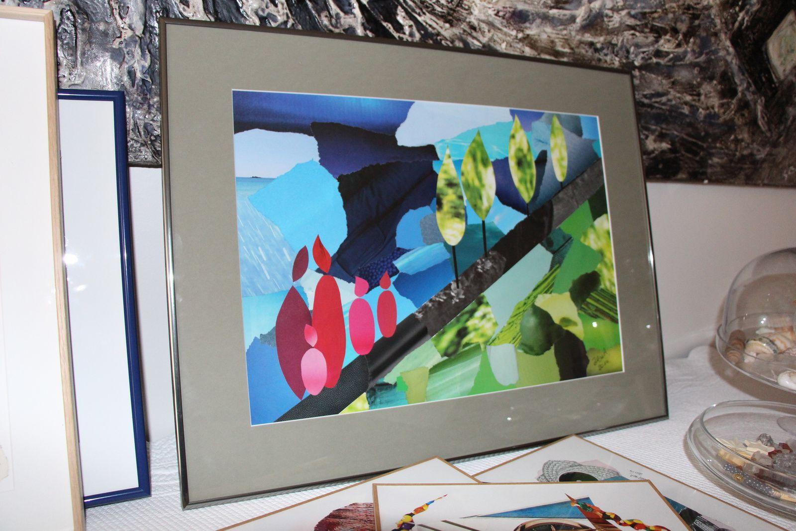 """Les Collages d'eMmA MessanA, collage """"De l'air !"""" encadré, pièce unique"""