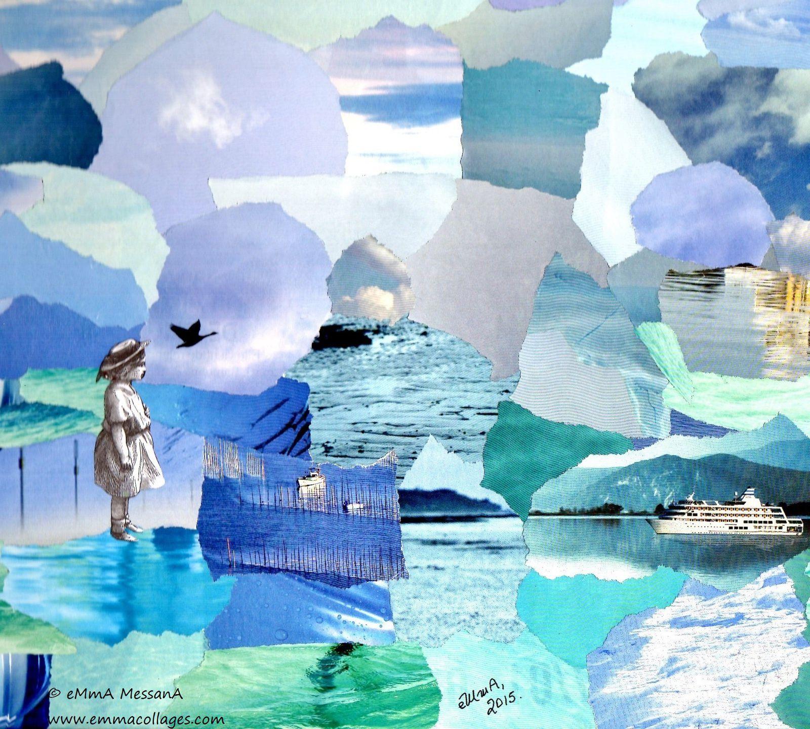 """Les Collages d'eMmA MessanA, collage """"Un ange sur la banquise"""", pièce unique"""