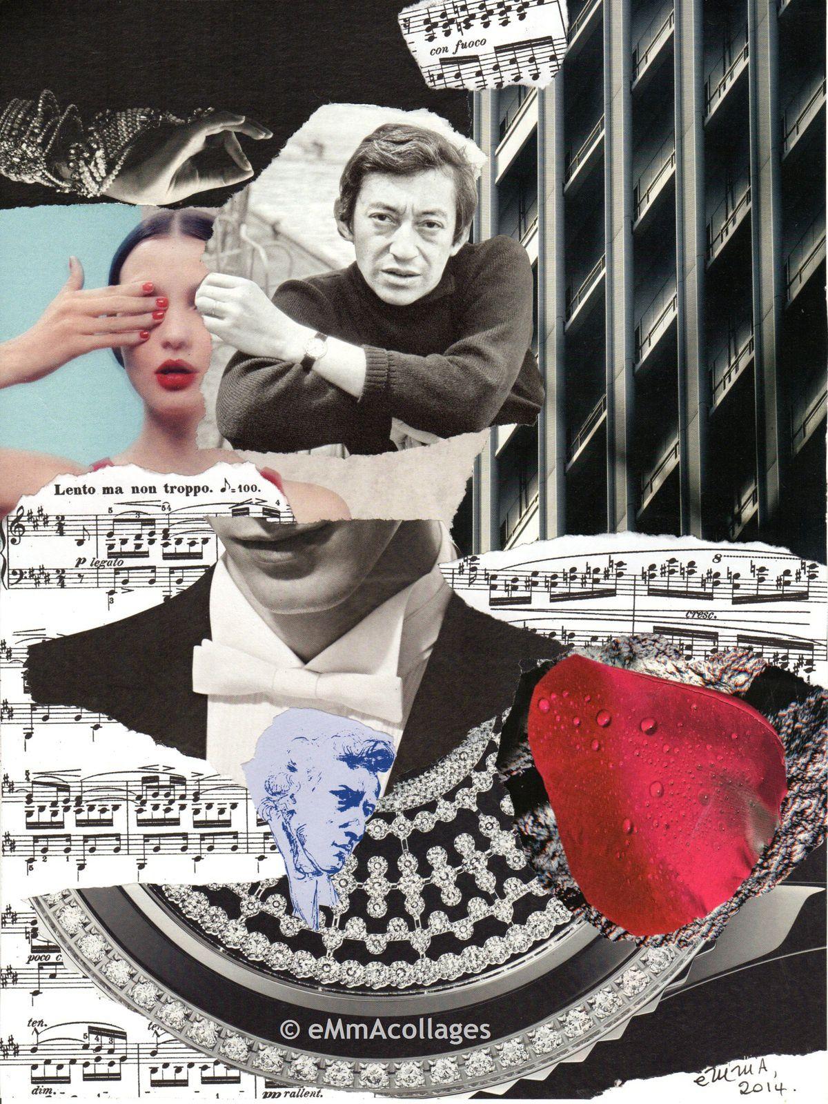 """Les collages d'eMmA MessanA, collage pièce unique """"Gainsblack"""""""