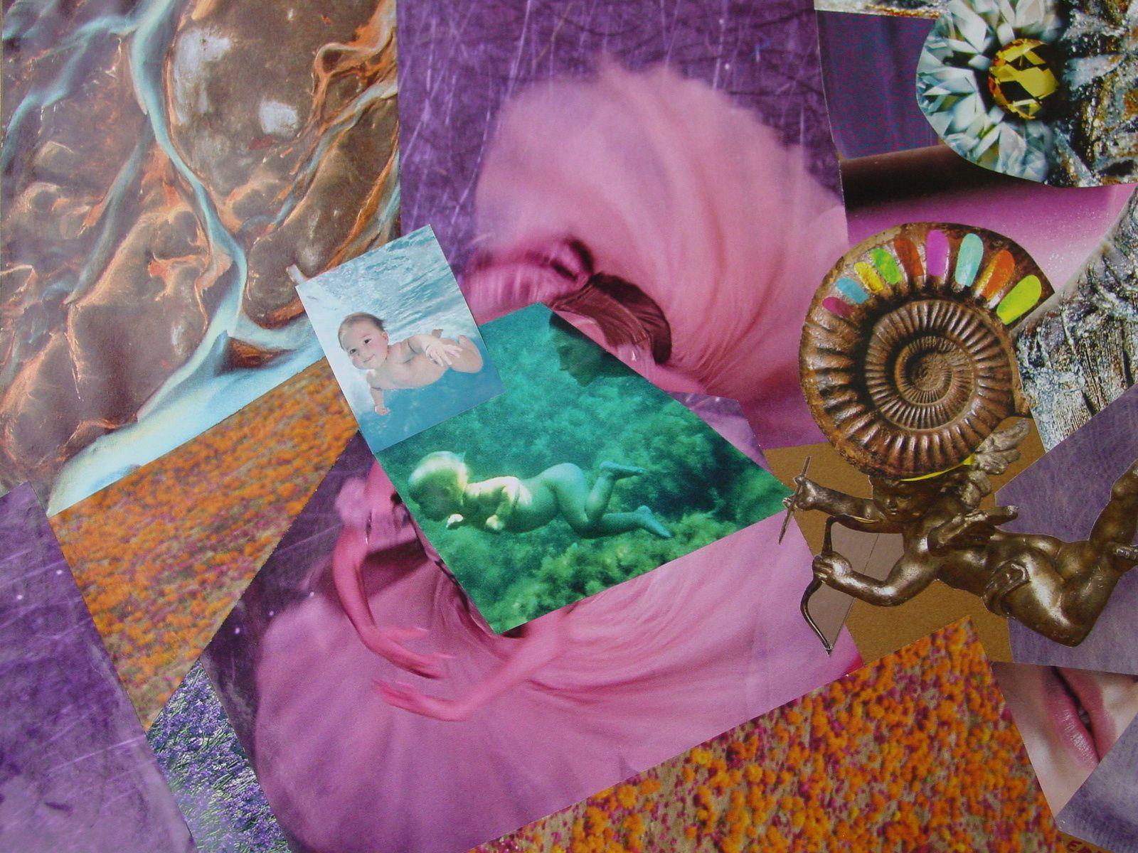 """Les Collages d'eMmA MessanA, collage """"L'empreinte de l'ange"""", pièce unique"""