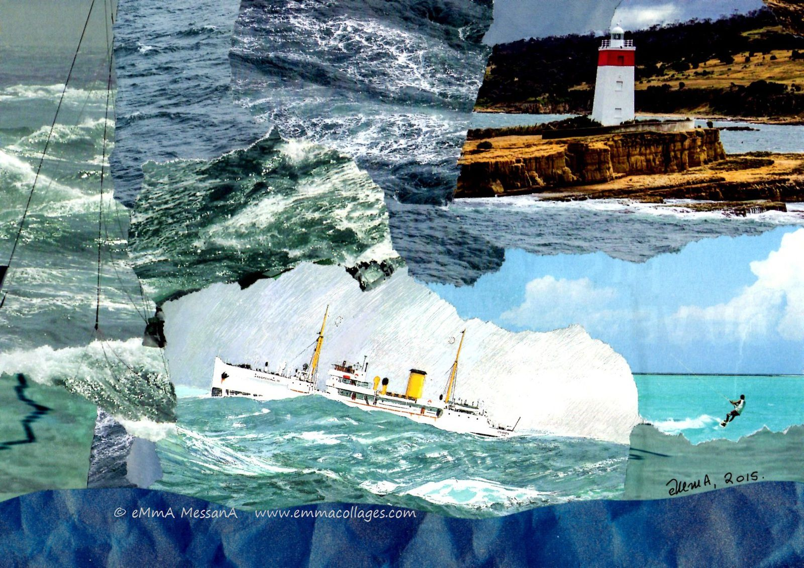 "Les Collages d'eMmA MessanA, collage ""Far away"", pièce unqiue"