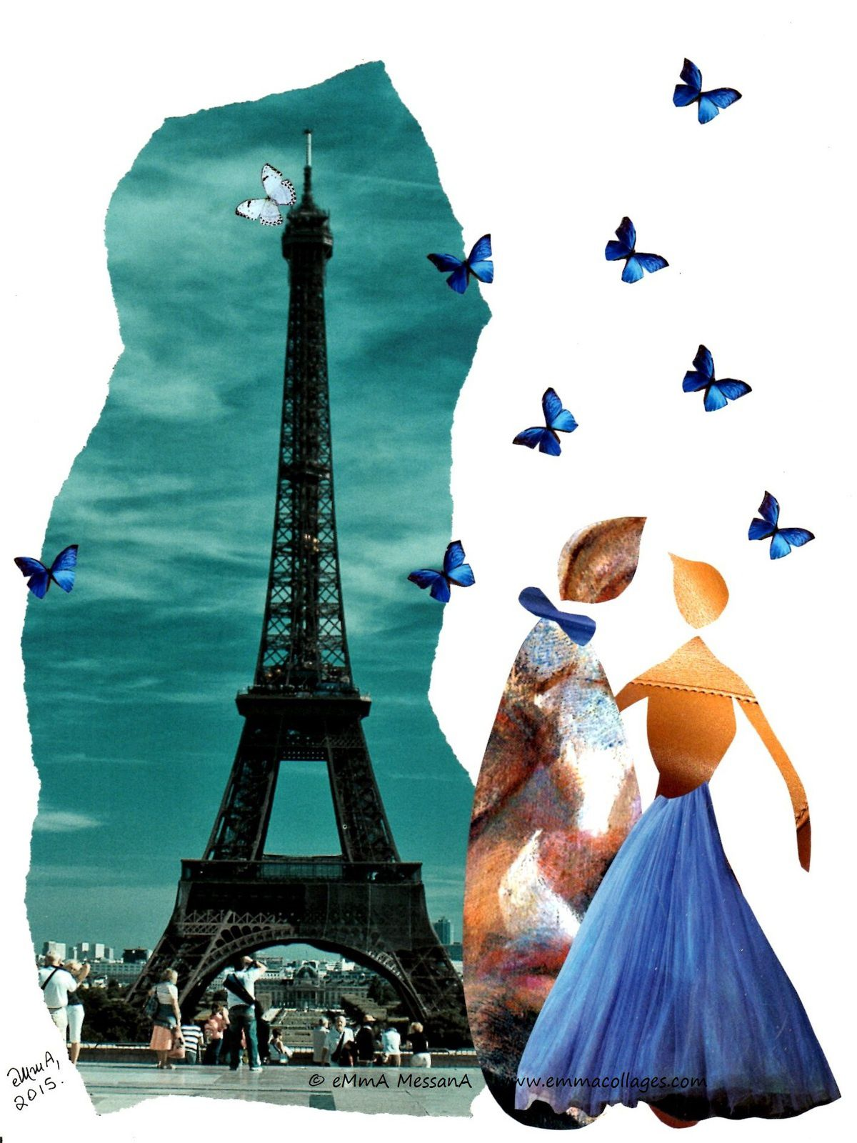 "Les Collages d'eMmA MessanA, collage ""Ella et Louis à Paris"", pièce unique"