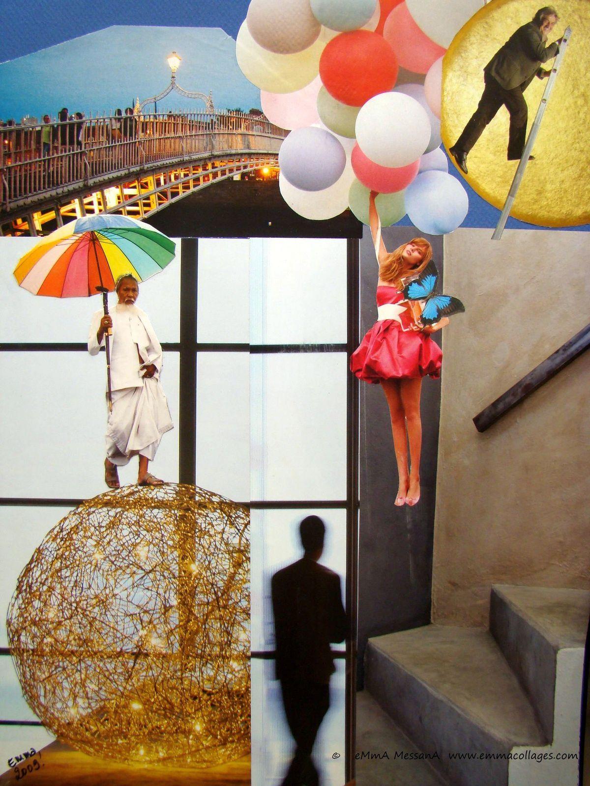 """Les Collages d'eMmA MessanA, collage """"L'ombre d'Icare"""", piièce unique"""