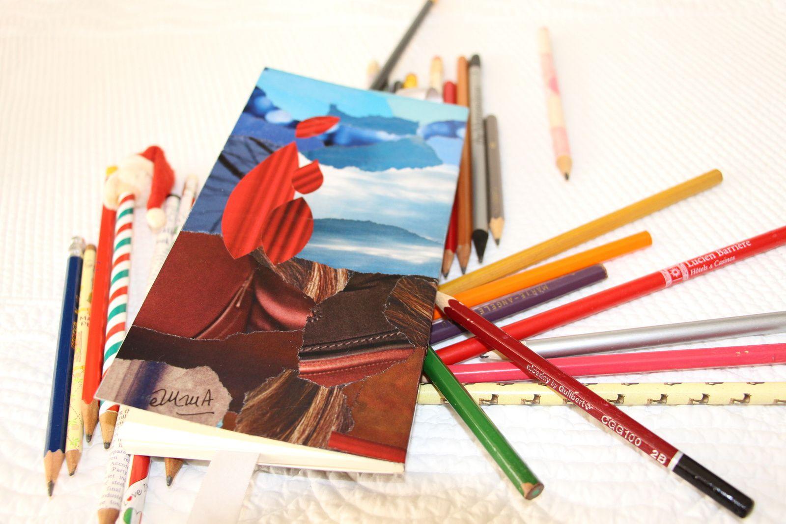 """Les Collages d'eMmA MessanA, collage sur le verso du carnet """"Le confident"""", pièce unique"""