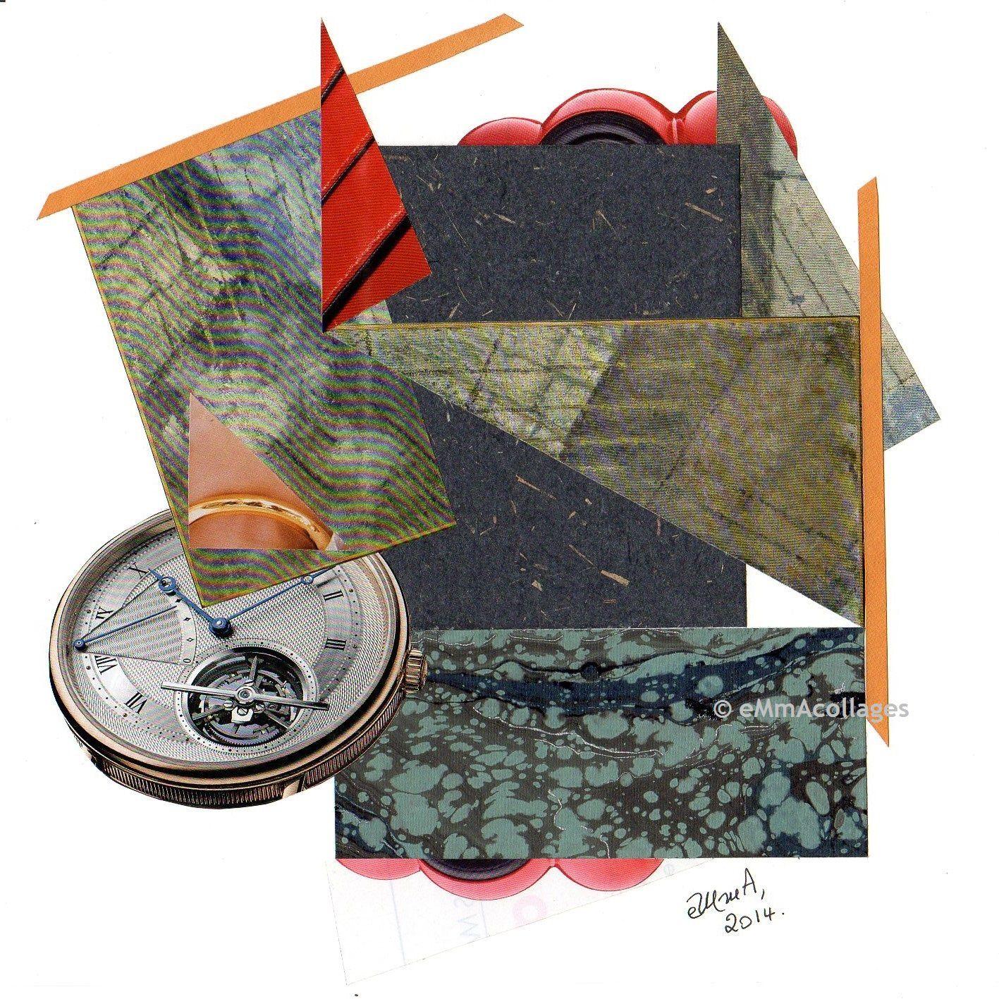 """Les Collages d'eMmA MessanA, collage """"Impression du temps qui passe"""", pièce unique"""